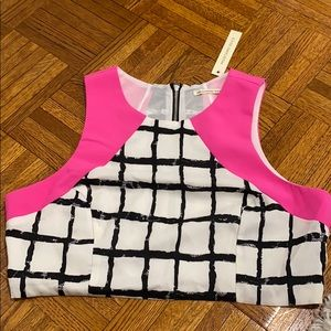 Black white and pink crop top